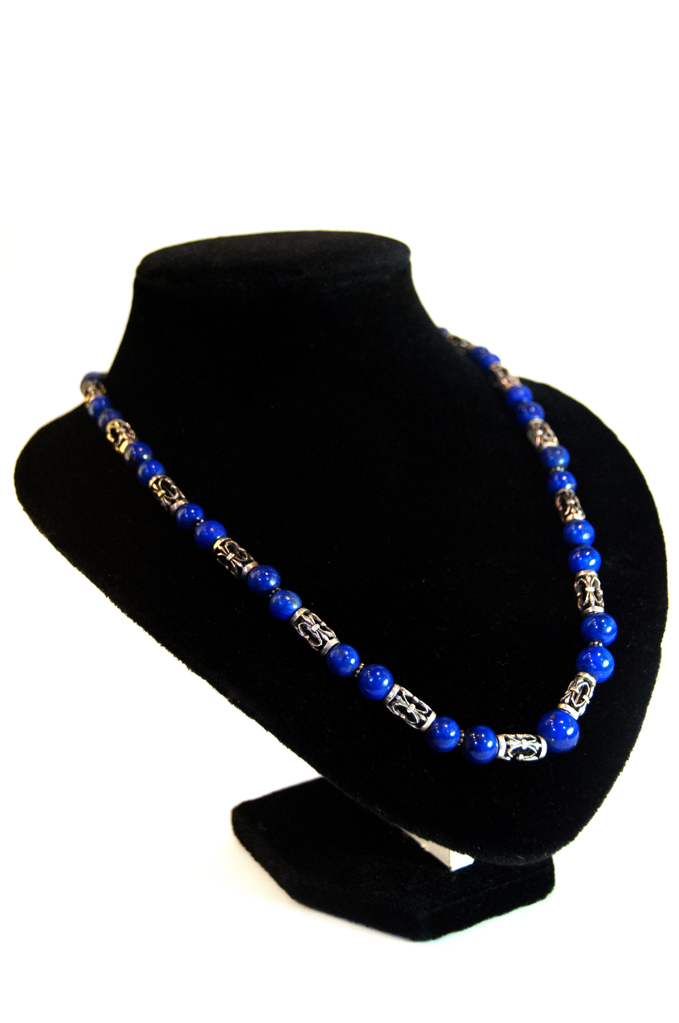 Jewelry Necklace Silver Rnd Torquoise Beads Cut-out Beads 21D 64.4