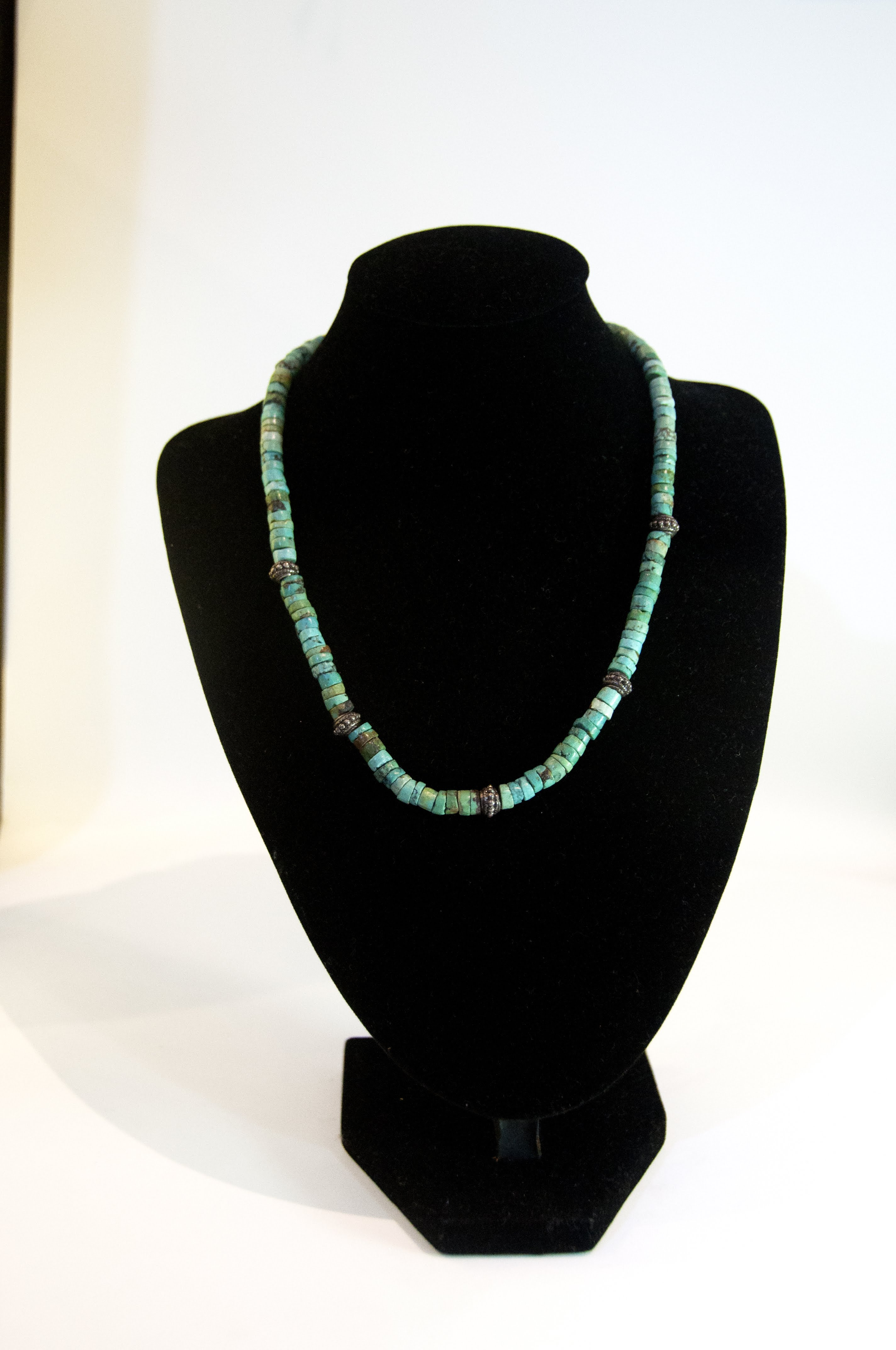 Jewelry Necklace Silver Natural Torquoise Beads 16D 30.03g