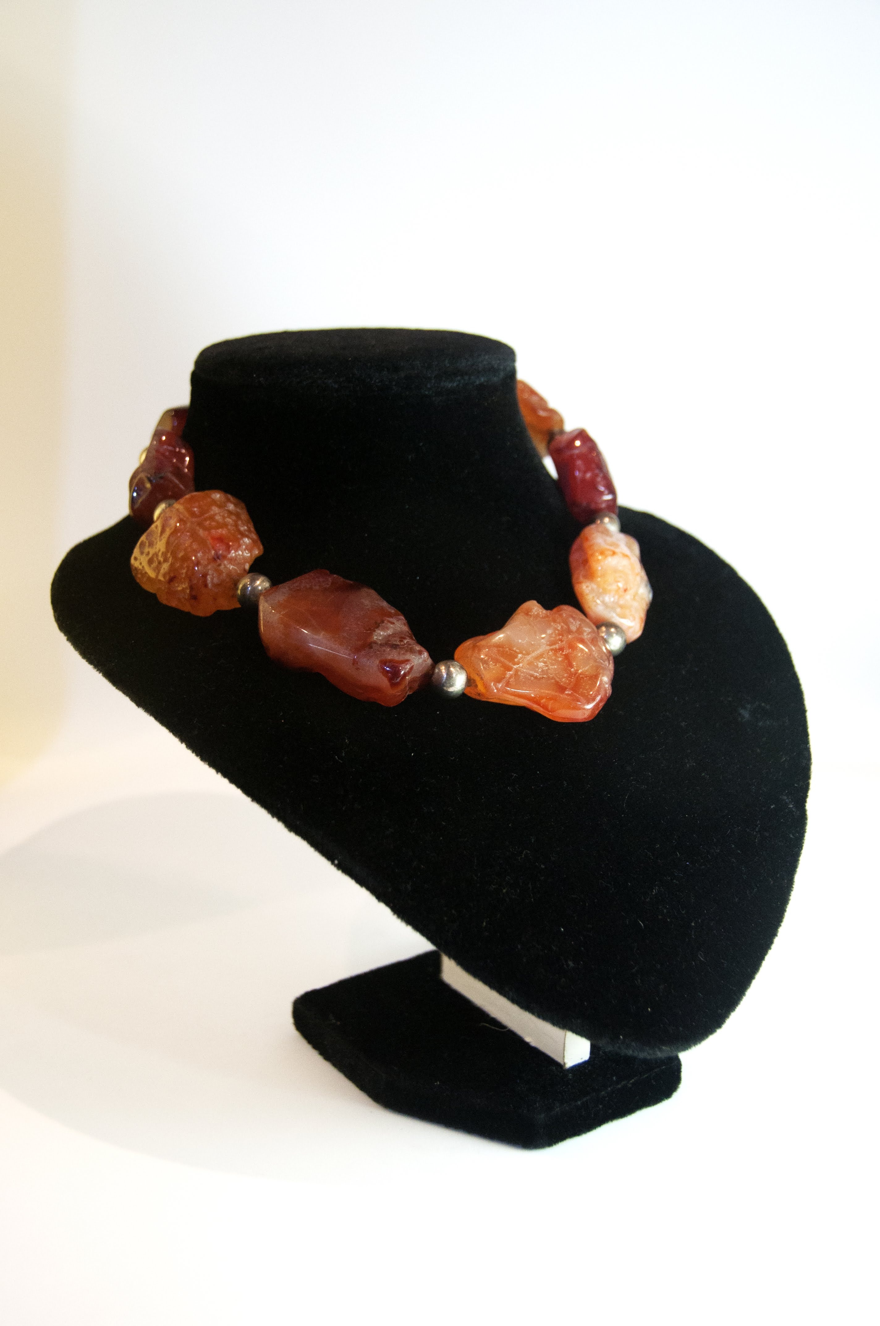 Jewelry Necklace Choker Orange Agate Nuggets/Silver Beads 15D 43.7g