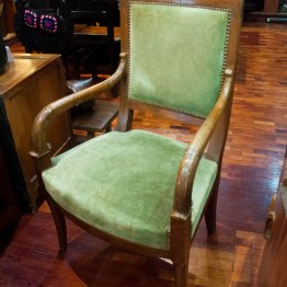 Chair arm upholstered velvet green