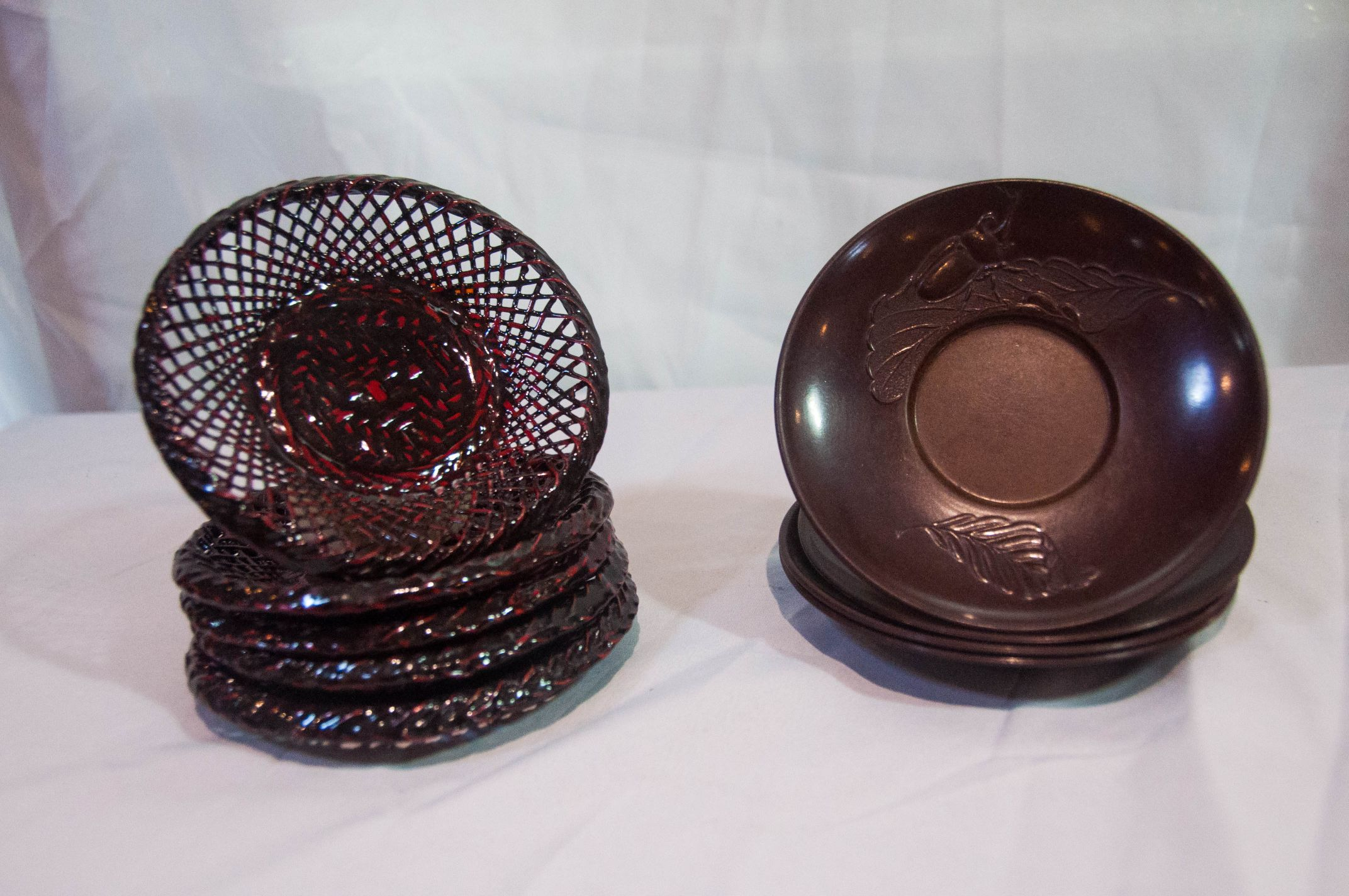 Bamboo Lacquer Saucer Japanese 5D Set/5 AND Saucer Lacquer Japanese Set/3