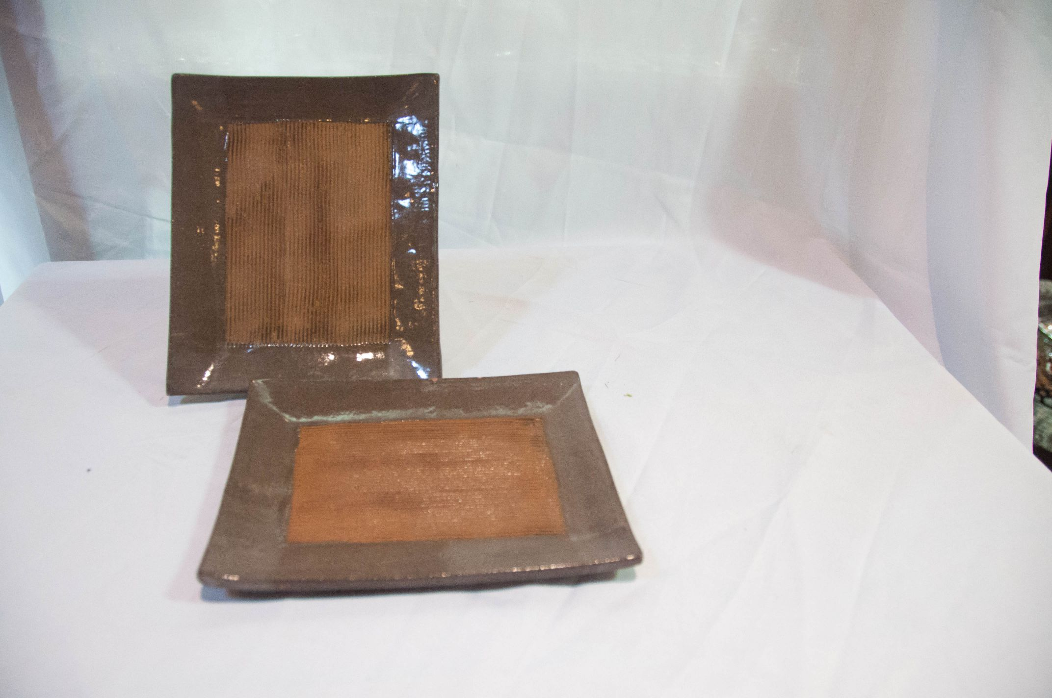 Cer/Por Tray Stoneware Sushi Rec Brown Linear Jap Small Set/2