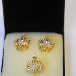 Jewelry Earrings/Ring 14K YG Set/2 17.43g
