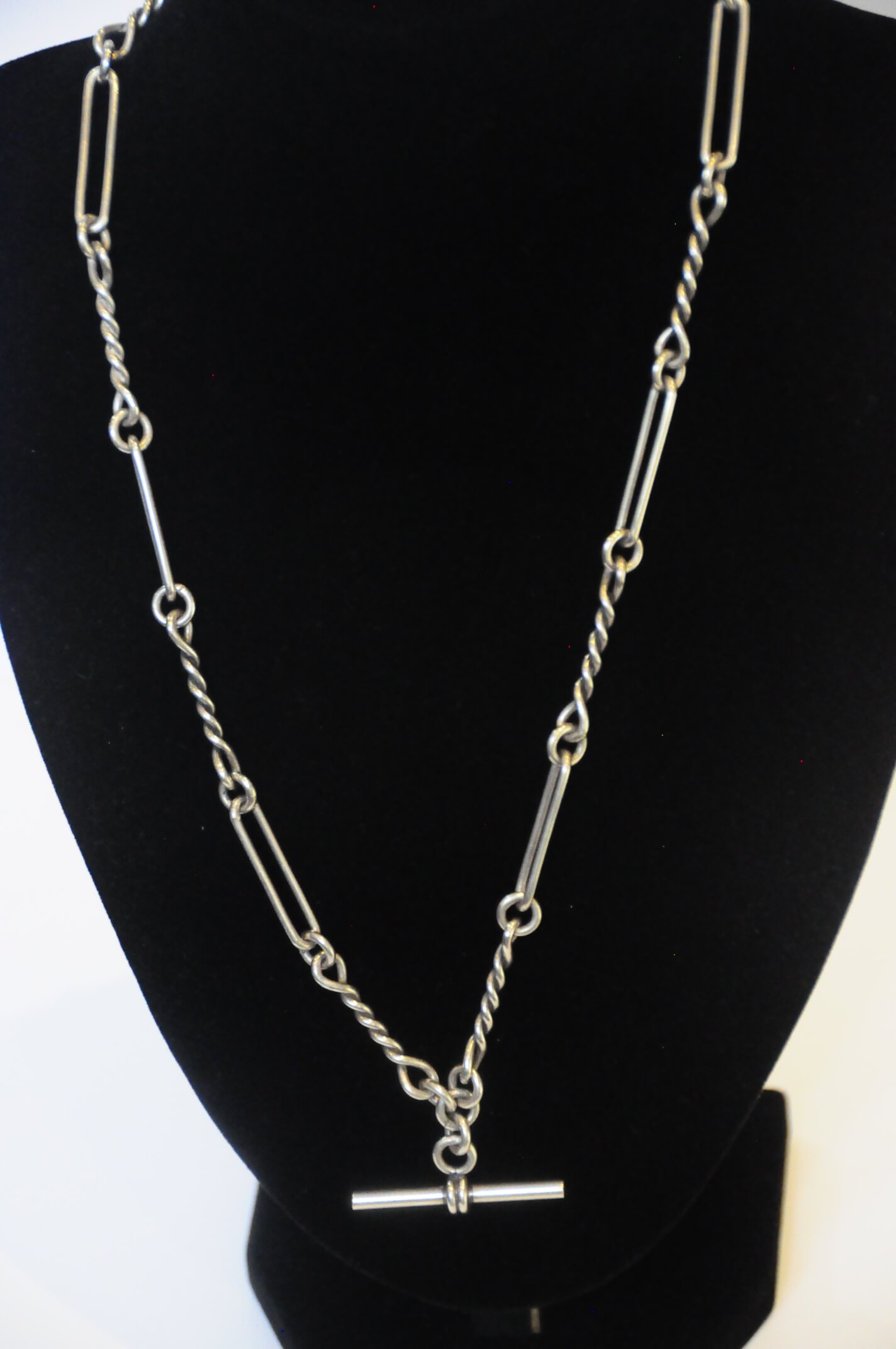 Jewelry Necklace Silver Rob Chain Albert 20'L 32.5g