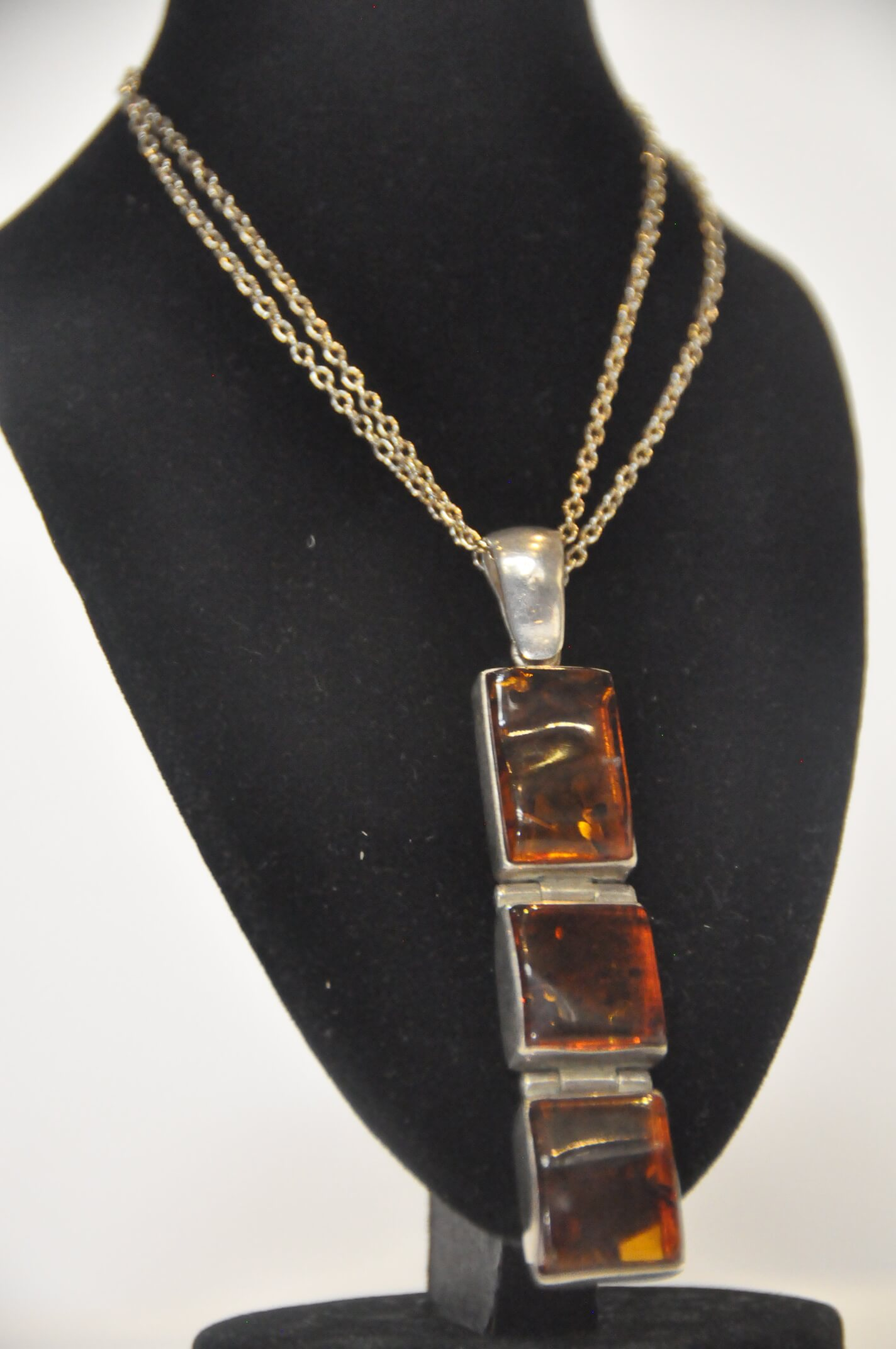 Jewelry Necklace Silver Chain w/ Amber Rec 3's 18L 11.6g