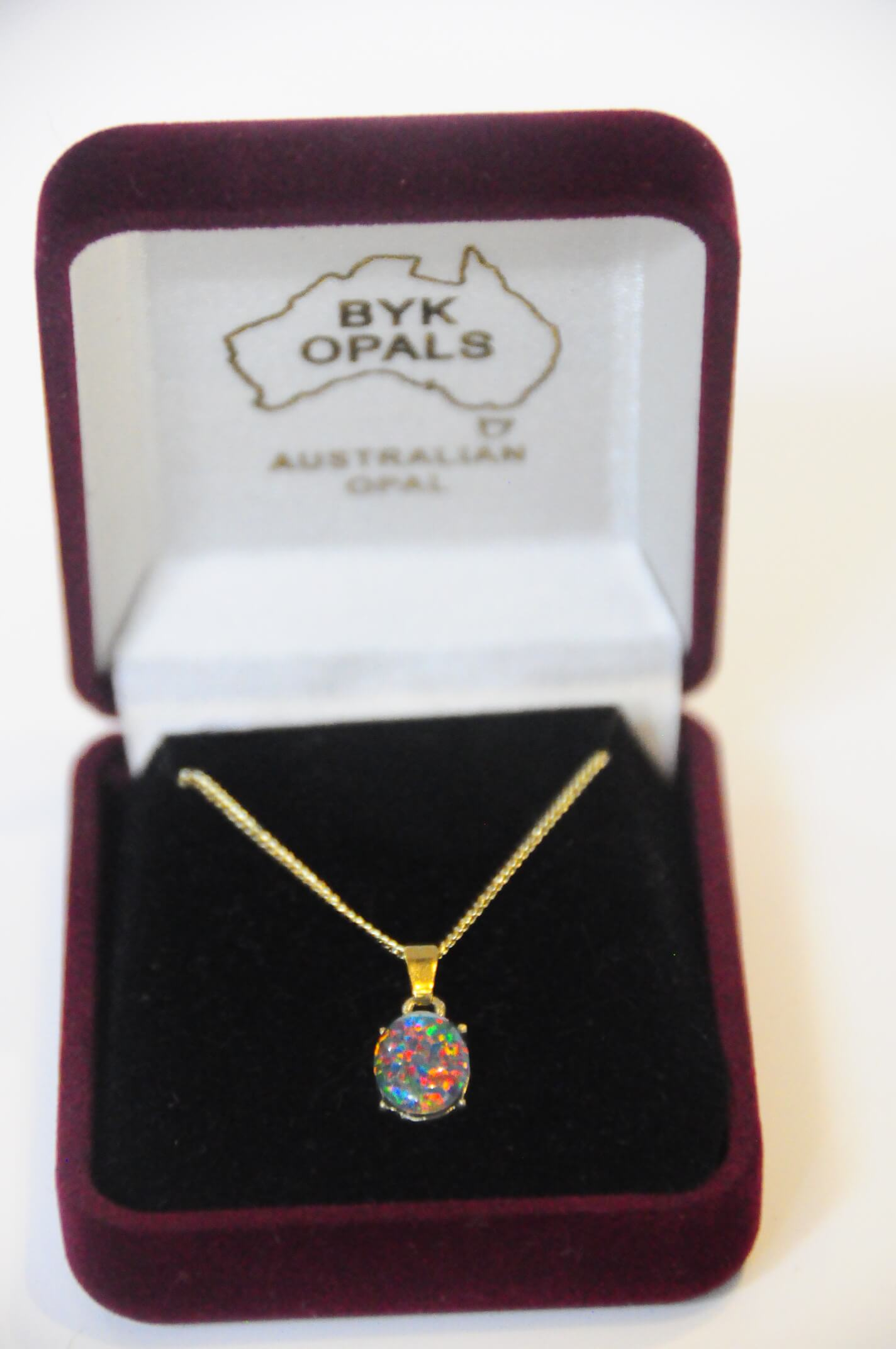 Jewelry Necklace Surgical Steel w/ Boulder Opal  Red/Blue
